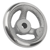 "Kipp 125 mm x .375"" ID 3-Spoke Handwheel without Machine Handle, Gray Cast Iron DIN 950 (1/Pkg.), K0671.0125XCO"