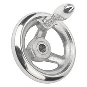 "Kipp 100 mm x .500"" ID 3-Spoke Handwheel with Fixed Machine Handle, Aluminum DIN 950 (1/Pkg.), K0160.2100XCP"
