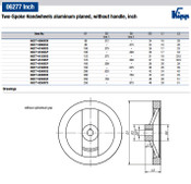 "Kipp 100 mm x .375"" ID 2-Spoke Handwheel without Machine Handle, Aluminum Planed (1/Pkg.), K0162.0100XCO"