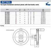 Kipp 100 mm x 12 mm ID 2-Spoke Handwheel with Fixed Machine Handle, Aluminum Planed (1/Pkg.), K0162.2100X12