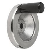 Kipp 100 mm x 10 mm ID Disc Handwheel with Fixed Handle, Aluminum Planed (1/Pkg.), K0161.2100X10