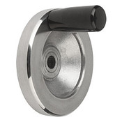 "Kipp 100 mm x .500"" ID Disc Handwheel with Fixed Handle, Aluminum Planed (1/Pkg.), K0161.2100XCP"