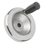 "Kipp 125 mm x .375"" ID Disc Handwheel with Revolving Handle, Aluminum Planed (1/Pkg.), K0161.4125XCO"