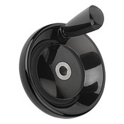 "Kipp 125 mm x .375"" ID Disc Handwheel with Revolving Taper Grip, Duroplastic/Steel, Size 2, Style E - Thru Bore Hole (1/Pkg.), K0164.1125XCO"