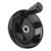 Kipp 100 mm x 10 mm ID Disc Handwheel with Revolving Taper Grip, Duroplastic/Steel, Size 1, Style E - Thru Bore Hole (1/Pkg.), K0164.1100X10