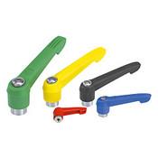 Kipp #10-24 Adjustable Handle, Novo Grip Modern Style, Plastic/Stainless Steel, Internal Thread, Size 1, Red (1/Pkg.), K0270.1A084