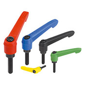 "Kipp 3/8""-16x25 Adjustable Handle, Novo Grip Modern Style, Plastic/Steel, External Thread, Size 3, Red (1/Pkg.), K0269.3A484X25"