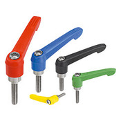 Kipp M6x25 Adjustable Handle, Novo Grip Modern Style, Plastic/Stainless Steel, External Thread, Size 1, Red (1/Pkg.), K0270.10684X25