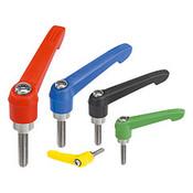 Kipp #10-32x20 Adjustable Handle, Novo Grip Modern Style, Plastic/Stainless Steel, External Thread, Size 1, Yellow (1/Pkg.), K0270.1A116X20