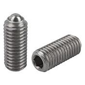 "Kipp 1/2""-13 Spring Plungers, Ball Style, Hexagon Socket, Stainless Steel, Standard End Pressure (5/Pkg.), K0316.A5"
