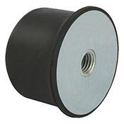 Kipp M12 x 80 mm (D) x 35 mm (OAL) Rubber Spherical Impact Buffer, Galvanized Steel (1/Pkg.), K0576.08006055