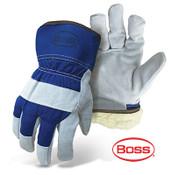 BOSS Heavy Duty Select Split Cowhide Palm, Cotton Back, Blue, Size Medium (12 Pairs)