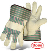 Boss Economy Grain Cowhide Leather Palm Safety Glove w/ Safety Cuff, Size Large (12 Pairs)
