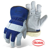 BOSS Heavy Duty Select Split Cowhide Palm, Cotton Back, Blue, Size Large (12 Pairs)