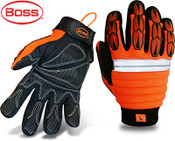 Mechanics Style Miner, Padded Back, Synthetic Leather Palm w/ Patches, Size Medium (12 Pair)