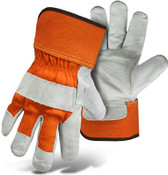 BOSS Double Cowhide Leather Palm w/ Orange Safety Cuff, No Logo, Size Large (12 Pairs)