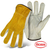 BOSS Grain Leather Palm Safety Gloves, Leather Back