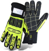 BOSS Hi-Visibility Slip-On Mechanics Style Cut Resistant Gloves w/ PVC Impact Protection, Size Medium (12 Pair)