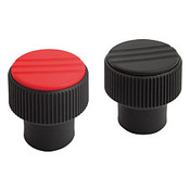 Kipp #10-32 Novo-Grip Knurled Knobs, Internal Thread, Stainless Steel, Size 1, Red (10/Pkg.), K0247.01A16
