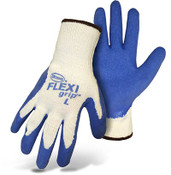 BOSS FLEXI Grip String Knit Gloves w/ Blue Latex Coated Palm, Crinkle Grip, Size Large (12 Pair)