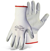 BOSS Assembly Grip White Nylon Knit Gloves w/ Absorbent Foam Nitrile Coated Palm, Size Large (12 Pair)
