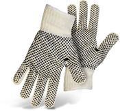BOSS Reversible String Knit Gloves w/ PVC Dotted Palm & Back, Size Large (12 Pair)