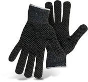 BOSS Reversible Gray String Knit Gloves w/ PVC Dotted Palm & Back, Size Large (12 Pair)