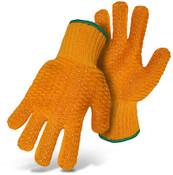 BOSS Hi-Vis Poly/Cotton Reversible String Knit w/ PVC Grips, Size Small (12 Pair)