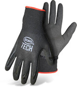 BOSS Black Nylon Knit Glove w/ Double Dipped Foam Nitrile Coated Palm, Size Large (12 Pair)