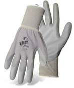 BOSS Lightweight Nylon Gloves w/ PU Coated Palm & Fingers, Gray, Size 7 (12 Pair)