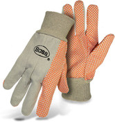 BOSS Poly/Cotton Canvas Gloves w/ Orange PVC Dotted Palm, One Size (12 Pair)