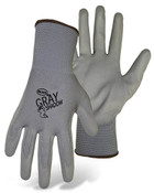 BOSS Lightweight Nylon Gloves w/ PU Coated Palm & Fingers, Gray, Size Large (12 Pair)