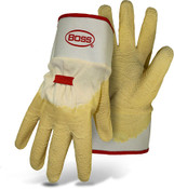 BOSS Cotton Gloves with 3/4 Crinkle Latex Dip, Size Large (12 Pair)