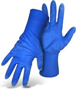 15 Mil Unlined, Powder-Free Blue Disposable Latex Gloves, Size Medium