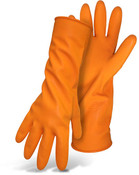 "BOSS 13"" 28 Mil Orange Latex Gloves, Flock Lining, Size Medium (12 Pair)"
