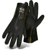"BOSS 12"" Double Dipped Black PVC Rough Grip Interlock Lined Gloves, Size Large (12 Pair)"