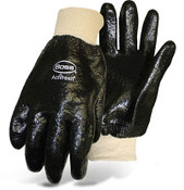 BOSS Fully Coated Black PVC Rough Grip Gloves, Knit Wrist, Size Large (12 Pair)