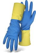 "BOSS 13"" 21 Mil Blue Neoprene & Yellow Latex Blend Gloves, Flock Lined, Size: 8 (12 Pair)"
