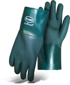 "BOSS 12"" Economy Double Dipped Green PVC Lined Gloves, Size Large (12 Pair)"