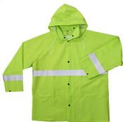 High-Visibility Green 35mm PVC Poly Lined Rain Jacket w/ Reflective Trim, Size: L (5 Jackets/Pkg.)