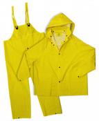 Yellow 35mm PVC Poly Lined 3-Piece Rain Suit, Size: Large (5 Suits/Pkg.)