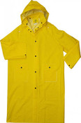 "48"" 35mm Yellow PVC Trench Rain Coat, Poly Lined, 3XL"