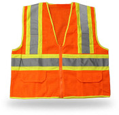 Orange High Visibility Safety Vest w/ Pockets, Class II, ANSI/ISEA 107-2004, Medium