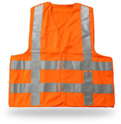 Break-Away Fluorescent Orange Safety Vest w/ Reflective Tape, Large