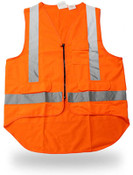 Class II Poly Solid Orange Safety Vest, Zip Closure, Extended Back, Large