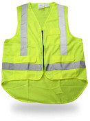 Class II Poly Solid Green Safety Vest, Zip Closure, Extended Back, Medium