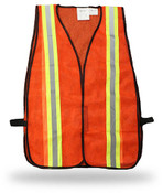Knit Polyester Fluorescent Orange Safety Vest w/ Reflective Tape, Break-Away, One Size