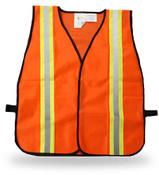 Poly Fluorescent Orange Safety Vest w/ Reflective Stripes, One Size Fits Most (12 Vests)