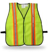Poly Fluorescent Green Safety Vest w/ Reflective Stripes, One Size Fits Most (12 Vests)