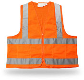 Poly Mesh Orange Safety Vest, 3 Pockets, Zip Closure, Reflective Tape, Class II, ANSI/ISEA 107-2004, Medium (6 Vests)
